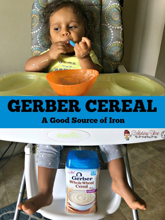 GERBER CEREALS provide a great source of iron for little ones, as they grow and develop in their first year. #GerberCereal @Gerber #babyfood
