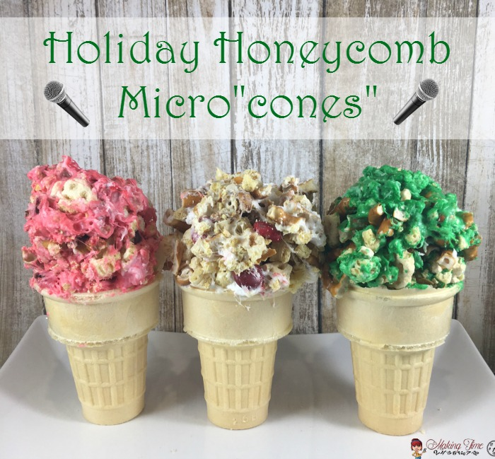 "We're getting ready for this year's family movie night holiday tradition by belting out some high notes into our Holiday Honeycomb Micro""cones."" Why? Because this year's family movie night feature is the December 21st release of SING©! #PostfortheHolidays #SINGMovieSweeps #PostSave$4 #ad"