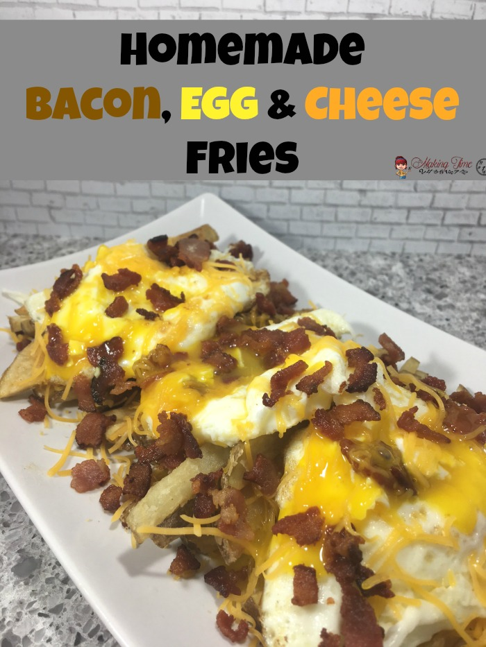 These Homemade Bacon, Egg & Cheese Fries will have your taste buds thanking you. Breakfast, lunch or dinner, they're great any time of day. #recipe