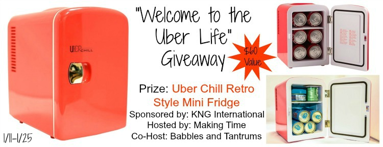 """Welcome to the Uber Life!"" This Uber Chill Retro Style Mini Fridge is perfect for camping, parties, keeping your goodies hidden from the kids (my fav!) and so much more. Visit the blog for your chance to win one! #giveaway #UberAppliance #UberChill"