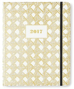 I'm going bold but classy with my organization this year, using my new Kate Spade New York large black/white striped agenda.