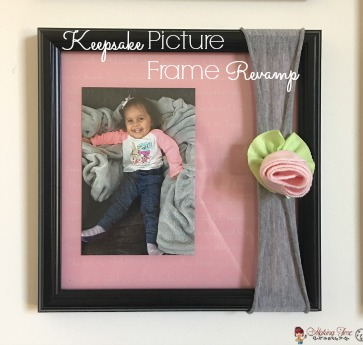 Have a broken picture frame around the house? Don't throw it out! Get creative and revamp it to make it a beautiful and functioning picture frame once again (or even something else). Head over to the blog to see how I took a broken picture frame of mine and revamped it into a keepsake frame for my daughter! #photodisplay #DIY