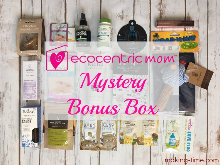 I love monthly subscription boxes and Ecocentric Mom happens to be one of my favs! This time around, though, I'm showing you an extra bonus box, the Mom & Baby Mystery Bonus Box. You won't believe all of the full-size products included! #EcocentricMom #allnatural #parenting #healthybaby #healthyfamily #MysteryBonusBox #subscriptionbox