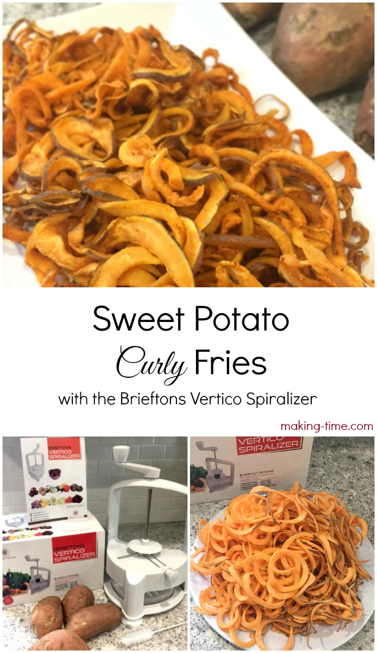 I am loving my new #Brieftons Vertico Spiralizer! It makes spiralizing fruits and veggies so simple and doesn't take much effort at all, unlike my hand-held twist/turn spiralizer. It's such a time saver! Just look at how easy it is to spiralize these sweet potatoes for sweet potato curly fries! #recipe