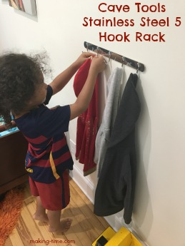 Need a way to organize your grilling tools? Hang your bath towels or bathrobes? Organize your garden or workshop tools? Or in my case, organize your kids jackets? This Stainless Steel 5 Hook Rack from Cave Tools is the perfect solution to all of these! #CaveTools #organize #grillingtools #jacketrack #hangingrack