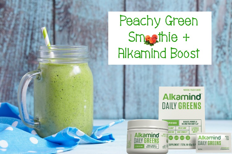 Peachy Green Smoothie + Alkamind Boost | #smoothie #recipe #AlkamindDailyGreens