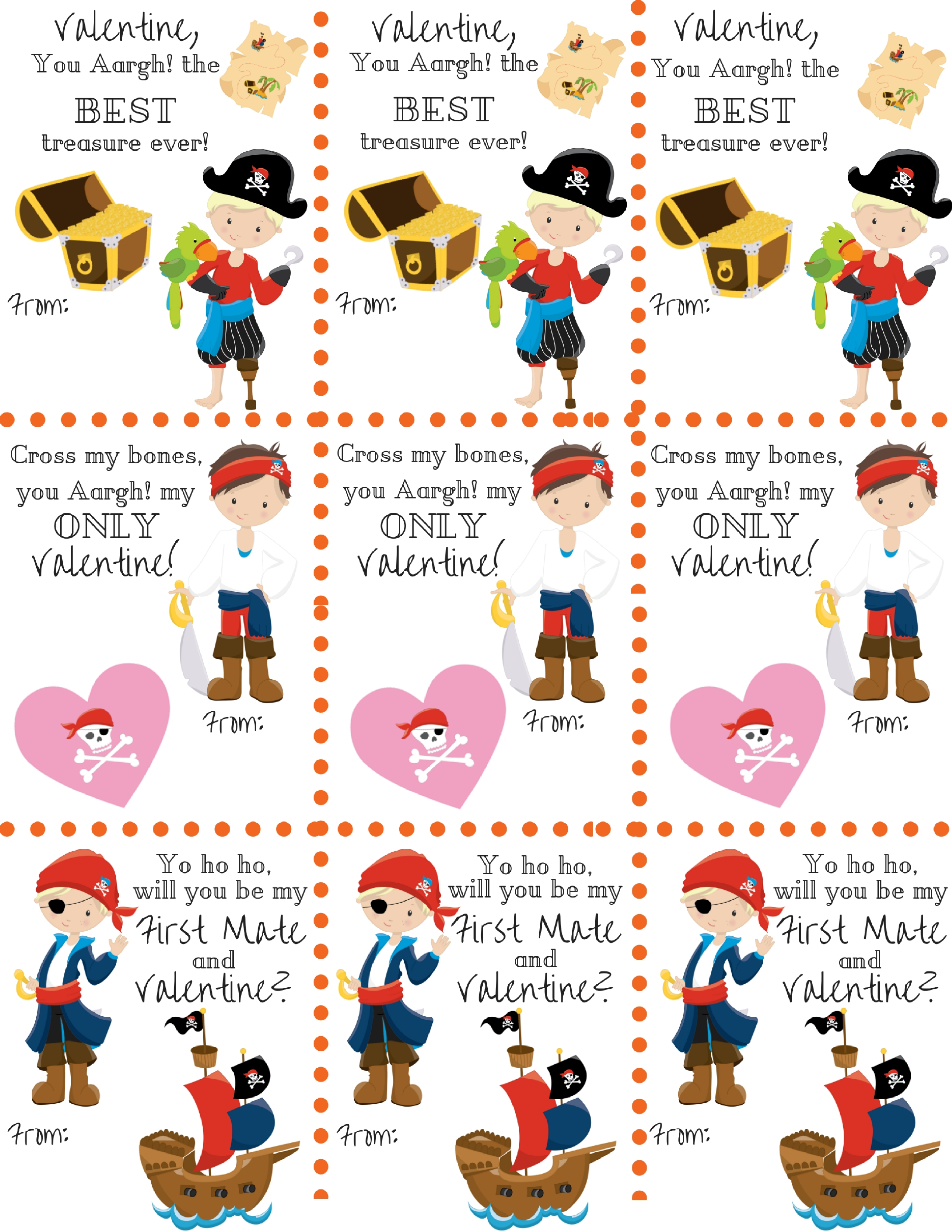 Free Pirate Boy Themed Classroom Valentine's Printables