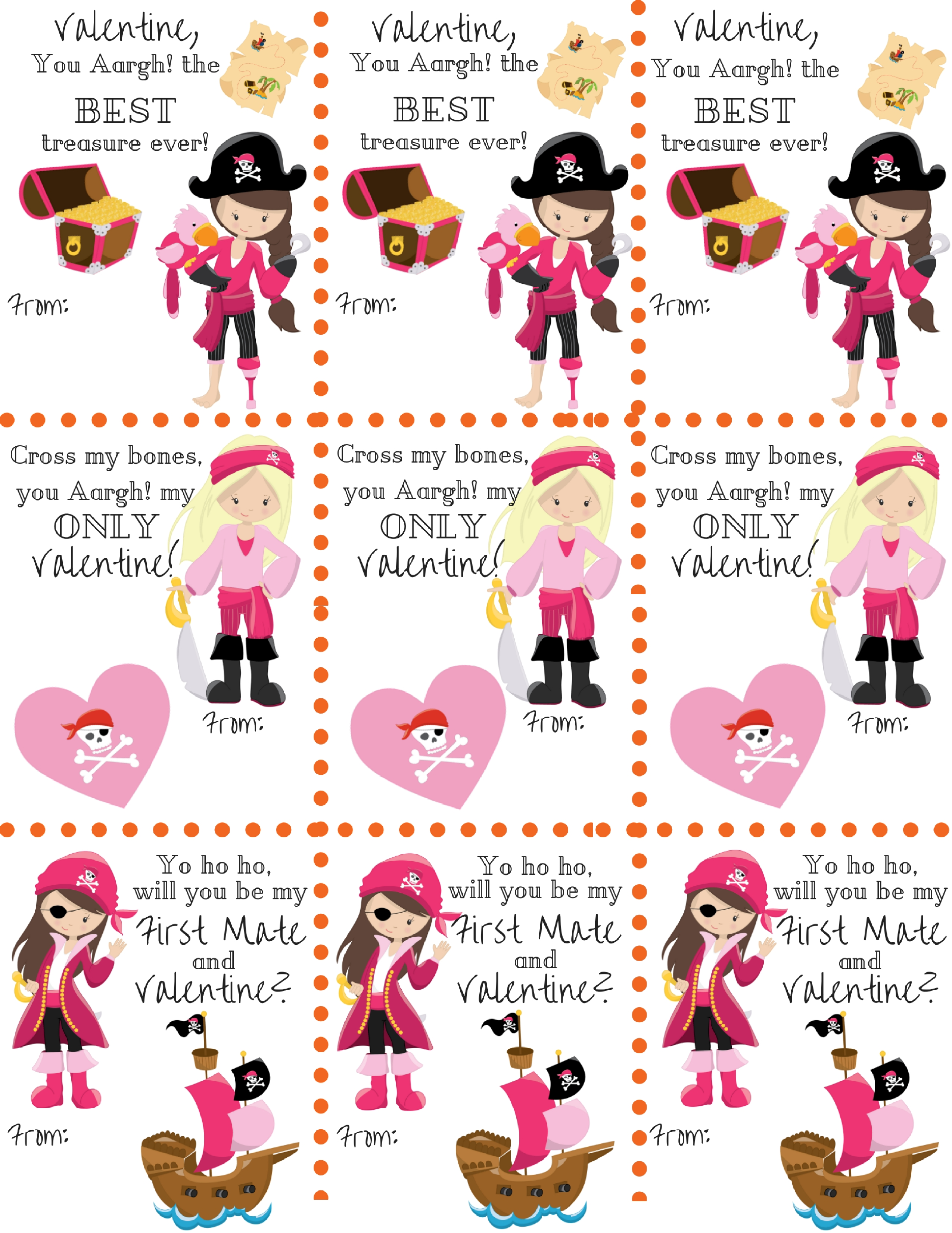 Free Pirate Girl Themed Classroom Valentine's Printables