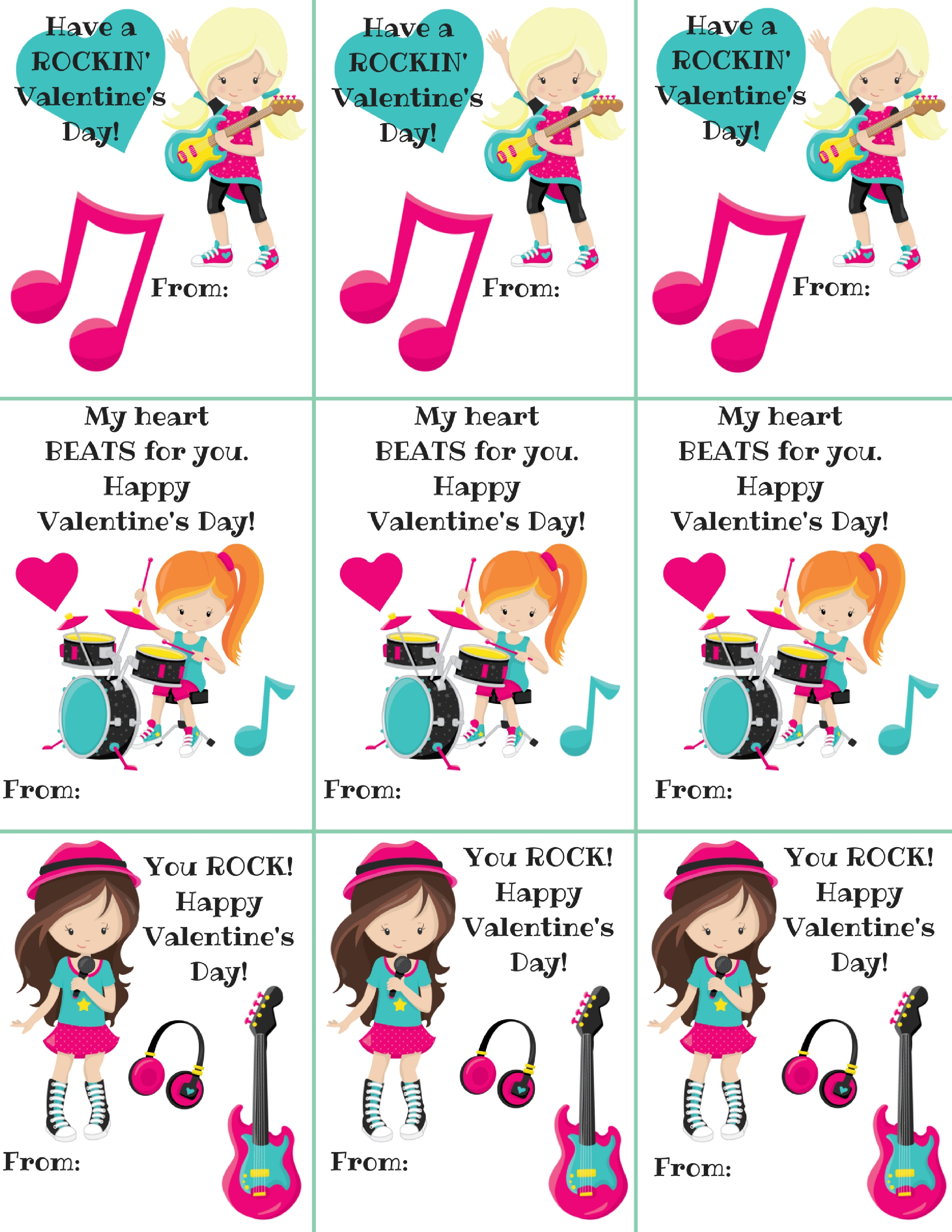 Free Rocker Girl Themed Classroom Valentine's Printables