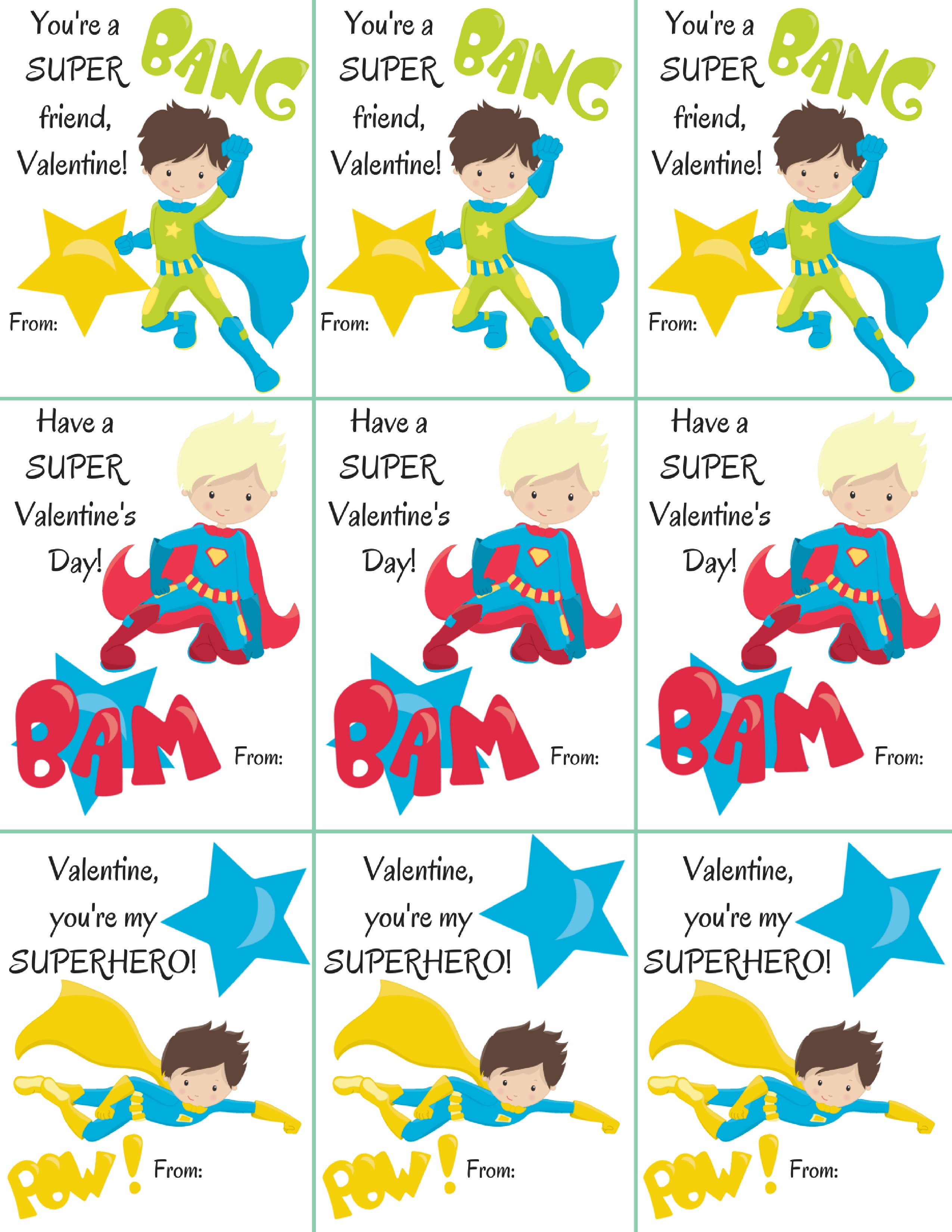 Free Superhero Boy Themed Classroom Valentine's Printables