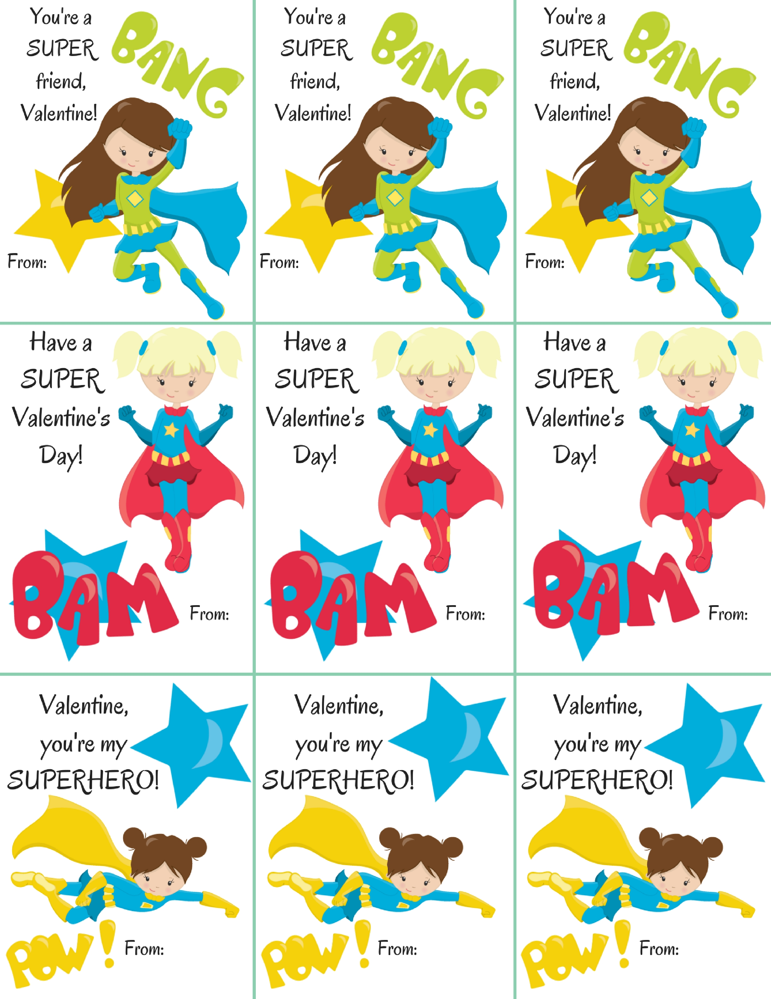 Free Superhero Girl Themed Classroom Valentine's Printables