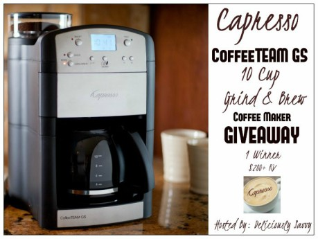 Enter to win a Capresso CoffeeTEAM GS 10 Cup Grind & Brew Specialty Brewer ($200 RV+)! #giveaway #Capresso #coffee