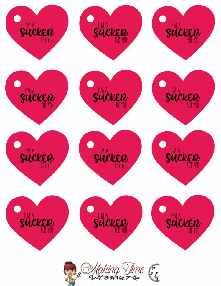 Free Sucker Valentine's Printables